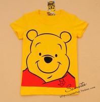 Free shipping WINNIE women's short-sleeve 100% cotton t shirt lady yellow bear t shirt