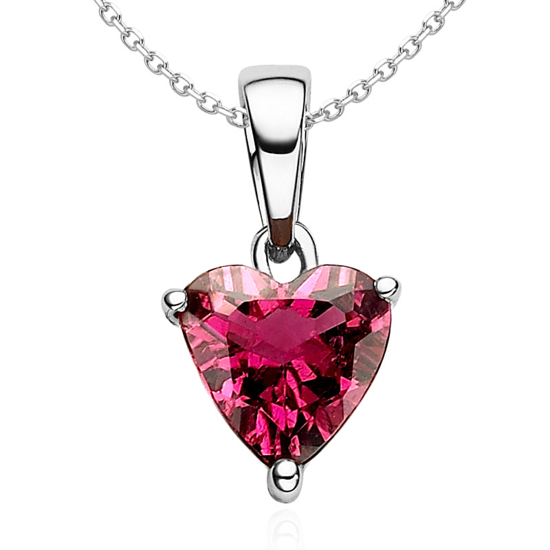 18k white gold certificated 0.46ct heart natural red tourmaline rubellite pendant necklace with free silver chains BX073P-GW(China (Mainland))