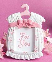 Free Shipping---100pcs/lot Pink Girl Baby Clothing Wedding Favor Photo Frame in White Box