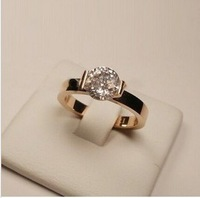 Min order $15(mix order) free shipping 18k gold plated crystal rings.rose gold promise rings,titanium steel vintage jewelry