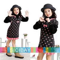 Girls  Sweaters Free Shipping Little Girls Long Sweaters Bow Dot Hooded Design,Kids Fashion Wear  K0335