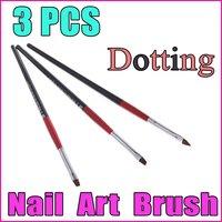 5 sets/lot 3PCS Black+Red Handle Nail Art Design Pen Painting Dotting Pen Nail Art Brush Nail Tools Set , Free Shipping
