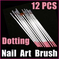 5 sets/lot  12PCS White Professional Nail Tools UV Gel Acrylic Nail Art Builder Brush Dotting Pen Design, Free Shipping