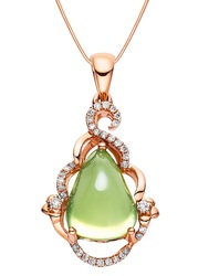 Certified 5.66CT Natural Prehnite and k Rose Gold Diamond Pendant PT065P-GR(China (Mainland))