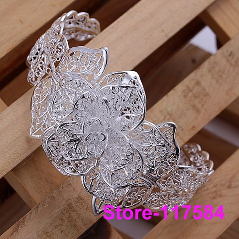B164 fashion Jewelry 925 sterling silver Bracelet Bangle Cuff fashion bracelet for women Three flower s /anna jeua(China (Mainland))