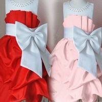 Free shipping 2013 summer 4pcs/lot fashion girls princess dress Big bowknot children party dress 0201