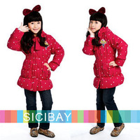 Best Selling Fashion Overcoats Gilrs Cute Warm Jackets Star Printed Bow Knot Design, Free Shipping K0342