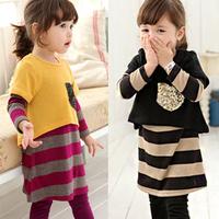 Female child baby 2013 spring children's clothing clothes 100% cotton clothes princess one-piece dress set