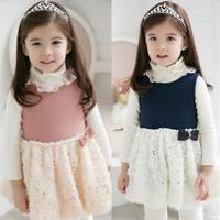Child baby female child 2013 spring children's clothing 100% cotton clothes princess vest one-piece dress