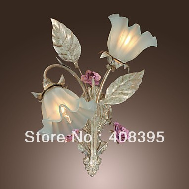 Country Style Wall Light with 2 Lights Floral Design(China (Mainland))