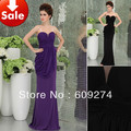 2013 hot!Free shipping Wholesale Cheap Sexy Black Purple Ruffle Women Stretch Long Cocktail Party Prom Formal Evening dresses