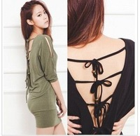 44 free shipping 2013 fashion newest women batwing long sleeves back lace up sheath mini dresses ladies club  dresses