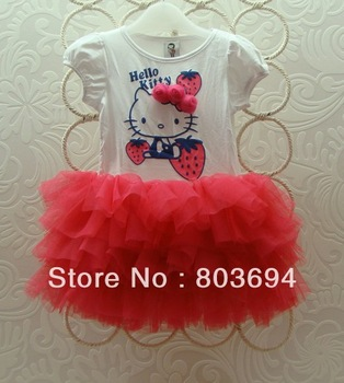 High quality girl hello kitty dress new baby girl dress  D109