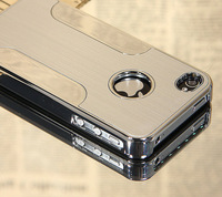 For iPhone 4 4S Silver Aluminum Steel Hard Cover Case +Pen