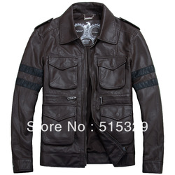 TM201209005 Resident Evil classic leon explosion brown THOOO Gentlemen PU Leather Jacket Coat Motorcycle M L XL 2XL 3XL 4XL 5XL(China (Mainland))