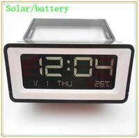100% New Brand Multifunction Backlight LED Calander Solar Digital Alarm Clock White/Black