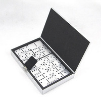 Free Shipping Gift pure aluminum domino business gift educational toys