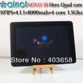 SG HK Post Free shipping 10'' IPS tablet pc Ainol Hero Quad core Android 4.1 Tablet PC  Dual Camera