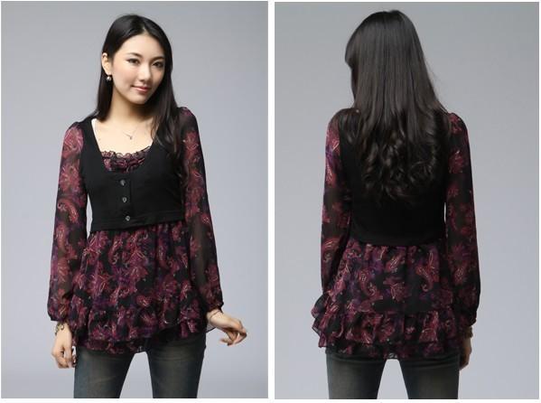 2013 summer short-sleeved blouses embroidered openwork lapel fresh