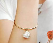 2014 New Fashion Hot-Selling Simple Style Fashion Imitation Diamond Hollow Peach Heart Bracelet For Girl 66B117 66B118(China (Mainland))
