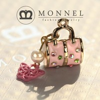 H166 Cute Fashion Pink Lady Handbag Purse Charm Pendant Wholesale (3pcs)