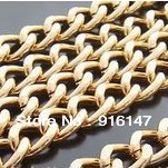 Free shipping 5M/lot 12mm*10mm Gold Plated AluminumChains Link Jewelry Findings diy jewelry Accessories(China (Mainland))