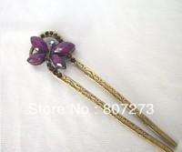 Oriental vintage hair stick/ hair pin/ hair comb/ Bridal headpieces/ wedding hair sticks/Chinese Kanzashi Rhinestones butterfly