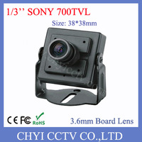 Free Shipping 1/3'' SONY Effio-E 700TVL Metal Mini Camera with 3.6mm Board Lens and low illumination 0.005lux, DWDR, 2D-NR