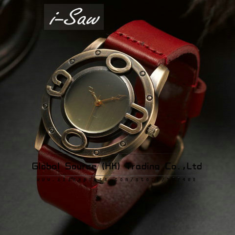 i-Saw Fashion wristwatch design for men Leather watchband vintage punk style metal hollowed-out figure watch header 40pcs/lot(China (Mainland))