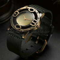 Original i-Saw wristwatch design for men Leather watchband vintage punk style metal hollowed-out figure watch header for men