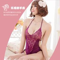 Lingerie Suit Purple lace skirt nighty dress sexy sleepwear+Free Shipping