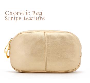 Elegant light gold oval soft PU udprc day clutch cosmetic bag storage bag