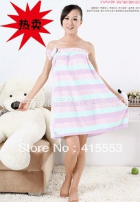 Free shipping coral fleece upset color stripe wiping a bosom pajamas bath towel(China (Mainland))