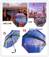 Countries Landmark 3 Fold Automatic Umbrella 8K Panels Windproof Free Shipping