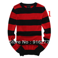 fashion leisure male O - Neck stripe sweater a variety of color sweater coat free shipping