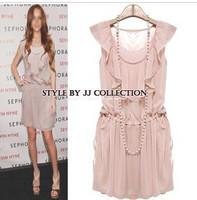 free shipping  2014 spring chiffon ruffle youoccasionally drawstring dress   office dress women womens designer tops