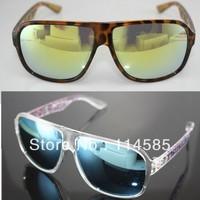 10pcs-Top Quality-Fashion Elegant Large leopard print reflective glasses black sunglasses anti-uv star style sunglasses k3579