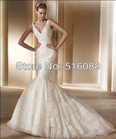 Free shipping wholes&retail luxury v-neck lace mermaid wedding dress bridal gown custom size/color