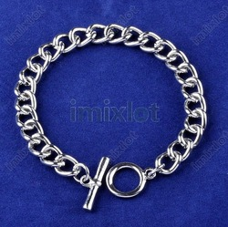 Wholesale Lots 12pcs Stainless Steel Chain Bracelet For Dangles Charms Bracelet 20cm Free Shipping [B482*12](China (Mainland))