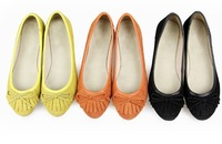 2013 NEW EUR 35-40 Genuine Leather  Sweety Dress Women shoes for Ladies flat shoes & Black,Orange,Green