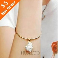 Simple Style Fashion Imitation Diamond Hollow Peach Heart Bracelet For Girl B117 B118