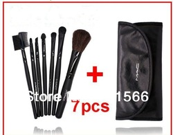 Big Discounts High quality 7 Pcs Set Makeup Brush Cosmetic Brushes Set +Black Soft Leather Case & Makeup Brush make up brushes(China (Mainland))