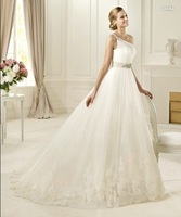Free shipping!!! One shoulder lace embroidered tulle full A-line Bridal Gowns Wedding Dresses Custom Size/Color Wholesale/Retail