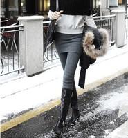 (Free shipping)2013 spring  basic skirt pants faux two piece thickening plus velvet one piece slim hip legging skirt female