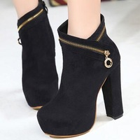 Autumn and winter boots 2012 sweet platform velvet thick heel zipper women's boots black