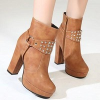 New arrival winter boots thick heel fashion vintage women's shoes 2013 high-heeled zipper rivet boots brown