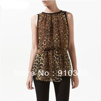 Black chiffon leopard print usuginu blouse sleeveless slim waist leopard print chiffon women clothes free shipping