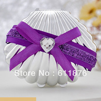 candy box , Creative silver shell with artificial flower ribbon decoration,YBK101, gift package, wedding favors, free shipping