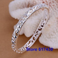 B156 925 sterling silver Bracelet Bangle Cuff fashion Jewelry bracelet for women Closed hollow flower /amta jeaa