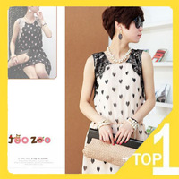 Free shipping ! hot sales New 2013  fashion Slim casual Women's chiffon lace Dress sweet love print(2.4)